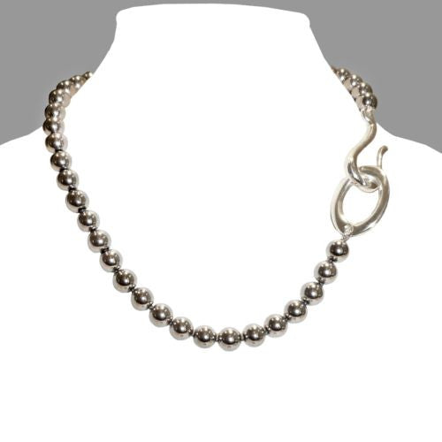 Simon Sebbag Sterling Silver Hook Round Hematite Bead Necklace - ILoveThatGift