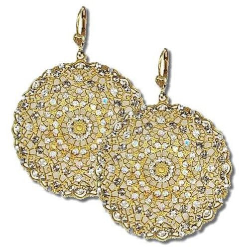 La Vie Parisienne Gold Large Filigree Earrings Popesco Black Diamond Clear 9702BG - ILoveThatGift