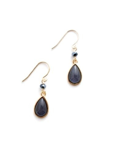 Zenzii Teardrop Earrings Blue Black Gold Plated - ILoveThatGift
