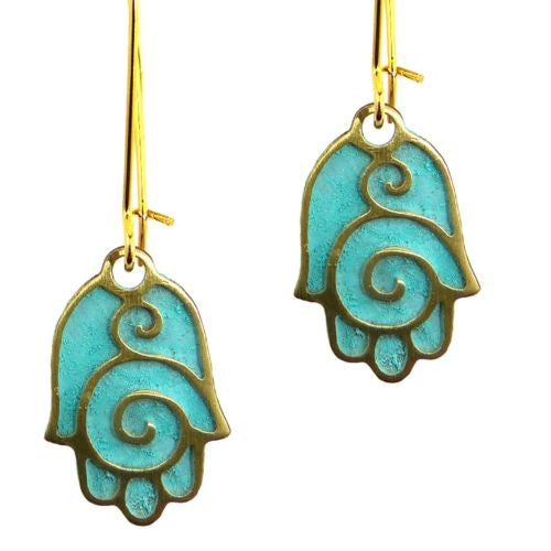 Hamsa Gold Plated Earrings in Patina Finish Orit Grader 821G - ILoveThatGift