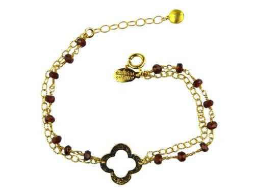 Gold Fill Clover Beaded Chain Bracelet with Garnets by Athena Designs - ILoveThatGift