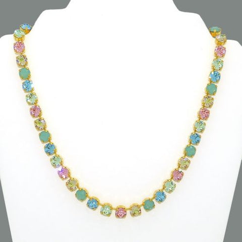 Handmade Swarovski Crystal Gold Necklace Pink Pacific Opal