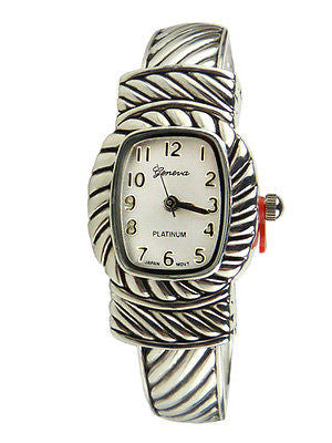 New Brighton Bay Geneva Silver 8005 Cuff Watch Bracelet Cable - ILoveThatGift