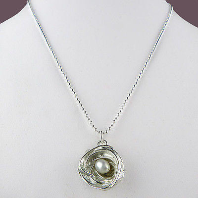 Wishnest Wishcharm Little Nest Necklace Nest with 1 White Pearl by Alise Sheehan - ILoveThatGift