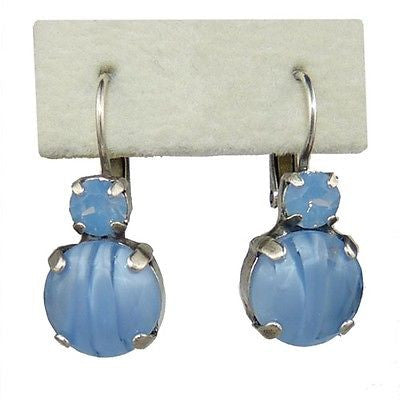 Mariana Handmade Swarovski Crystal Large Round Earrings 1037 1343 Blue Opal Swir - ILoveThatGift