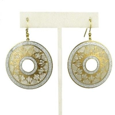 Gold tone Silver Sparkle Round Disc Earrings RUSH Denis Charles - ILoveThatGift