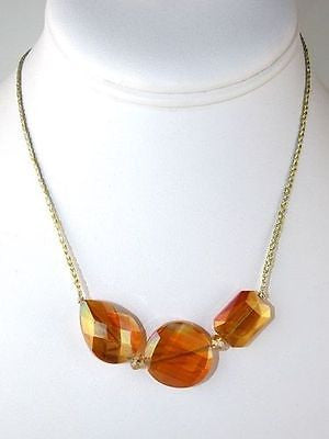 Chunky Crystal Necklace on Braided Gold Silk Thread Apricot Margot by Elly Prest - ILoveThatGift