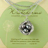 Wishnest Wishcharm Little Nest Necklace - Nest with 3 Gray Pearls by Alise Sheeh - ILoveThatGift