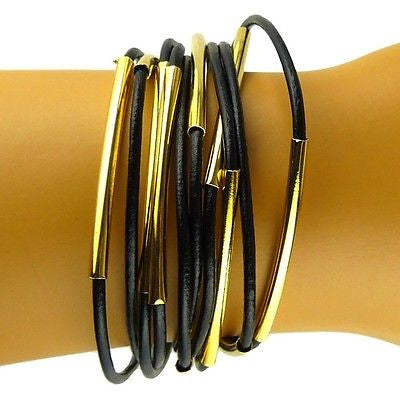 Black Leather Bracelet with Gold Metal Bars by Athena Designs - ILoveThatGift