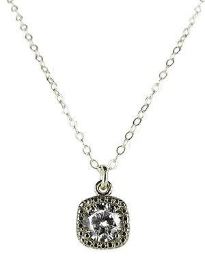 Small Square Pendant Sterling Silver and CZ Crystal Necklace by Athena Designs - ILoveThatGift