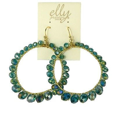Lexi Earrings Teal Blue Crystals on Gold Wire by Elly Preston - ILoveThatGift