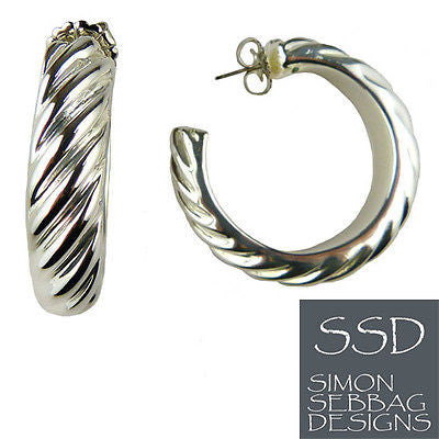 Simon Sebbag Large Ridged Sterling Silver Hoop Earrings E2460 - ILoveThatGift