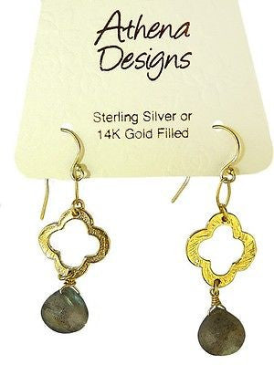Labradorite Clover Earrings by Athena Designs Gold Filled - ILoveThatGift