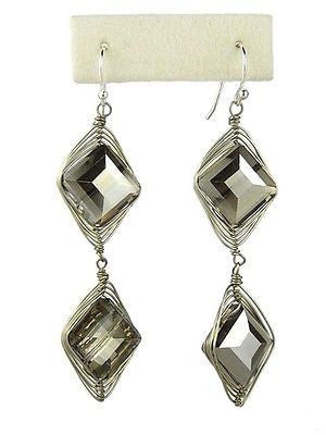 Chunky Crystal Earrings on Silver Wire - Hematite Silver Margot by Elly Preston - ILoveThatGift