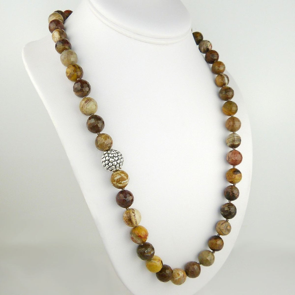 Simon Sebbag Sterling Silver Prosecco Petrified Wood Beads Toggle Clasp Necklace - ILoveThatGift