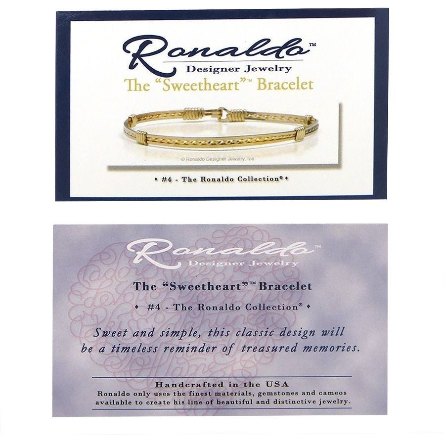 Ronaldo The Sweetheart 63 Bracelet 14K Sterling Silver Wire & Gold Diamond Cut A - ILoveThatGift