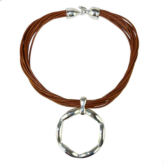 Simon Sebbag Leather Necklace Metallic Copper Shimmer Open Sterling Silver Round - ILoveThatGift