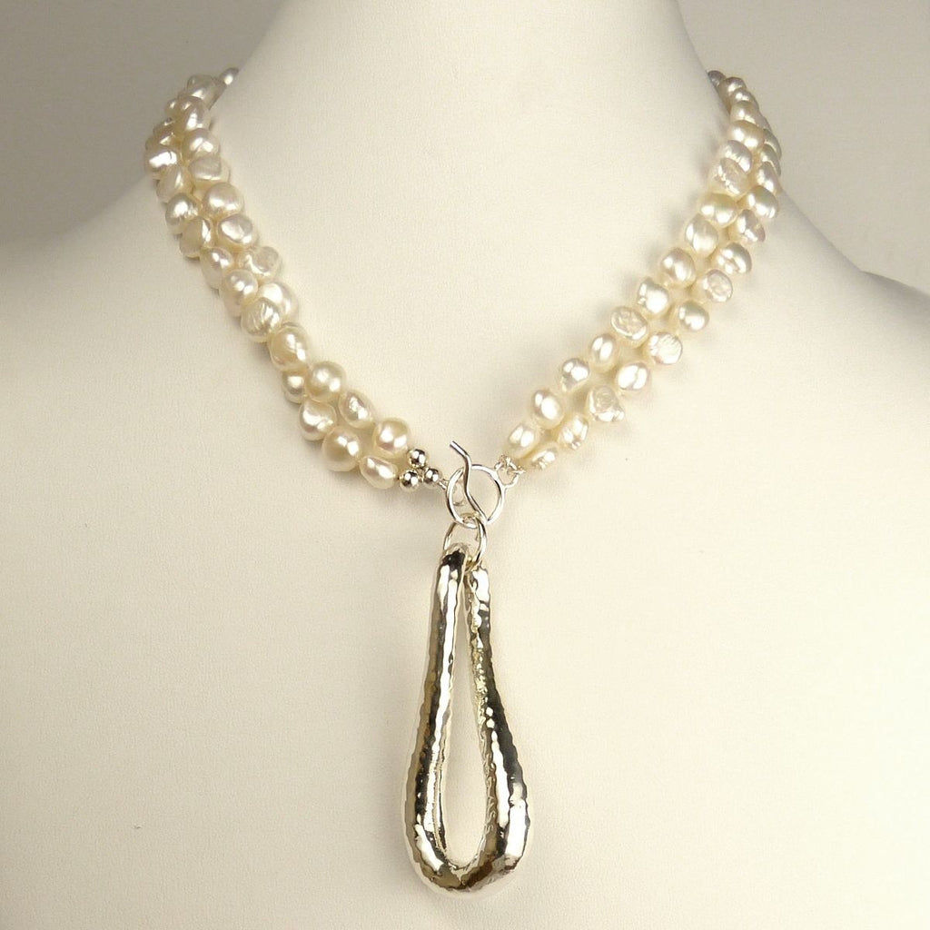 Simon Sebbag White Pearl Necklace Sterling Silver Hammered Pendant Convertible PN513D_Pearl - ILoveThatGift