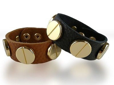 Soft Leather Bracelet Large Screw Black Saddle wear with CC Skye - ILoveThatGift