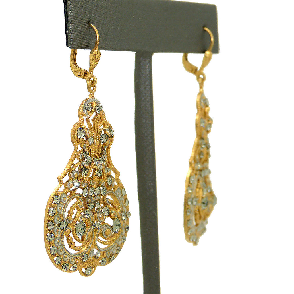 La Vie Parisienne Marie Petite Enamel Contessa Earrings Gold Silver Black Diamond Crystals 3012G Catherine Popesco - ILoveThatGift