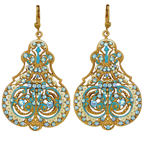 La Vie Parisienne Marie Petite Enamel Contessa Earrings Gold White Blue Crystals 3012G Catherine Popesco