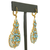 La Vie Parisienne Marie Petite Enamel Contessa Earrings Gold White Blue Crystals 3012G Catherine Popesco - ILoveThatGift