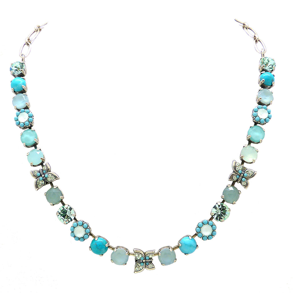 Mariana Handmade Swarovski Silver Necklace 3063 M1087 Butterfly Flower Turquoise