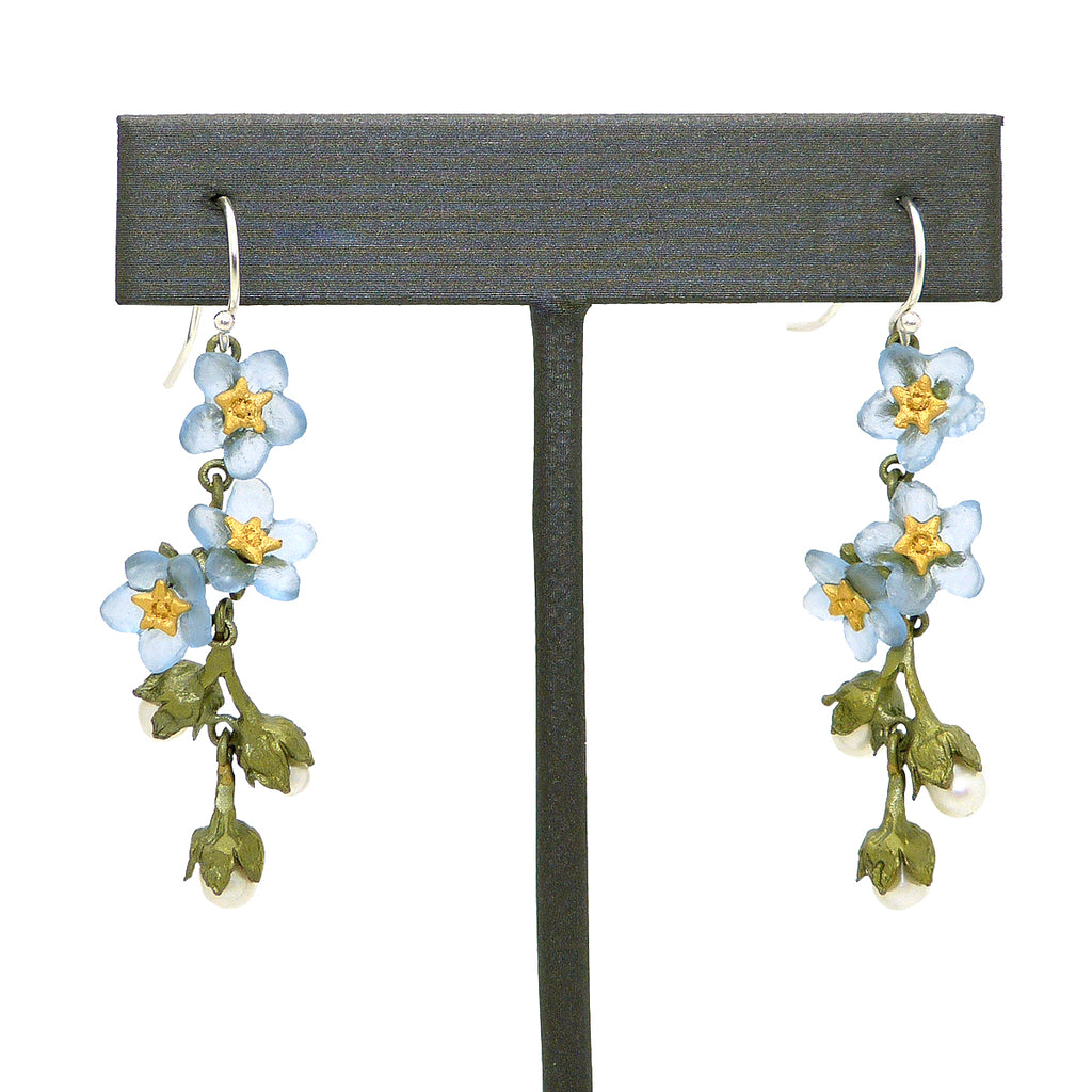 Forget Me Not Flower Dangle Earrings by Michael Michaud Nature Silver Seasons 3269 - ILoveThatGift