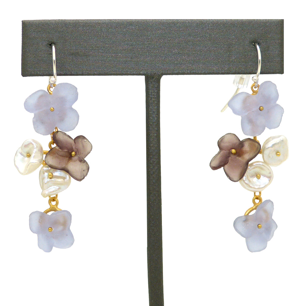 French Bouquet Flower Earrings Lilac Violet Pearl Michael Michaud Nature Silver Seasons 3313 - ILoveThatGift