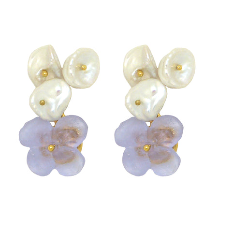 French Bouquet Flower Post Earrings Lilac Violet Pearl Michael Michaud Nature 3314 - ILoveThatGift