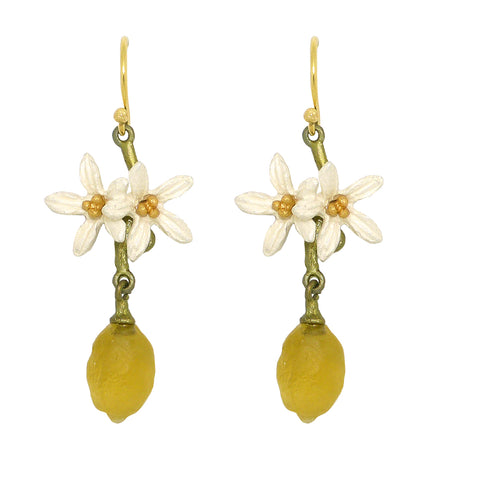 Lemon Drop Dangle Flower Wire Earrings Earrings by Michael Michaud 3318