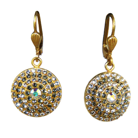 La Vie Parisienne Gold Round Pave Earrings 4148G Catherine Popesco