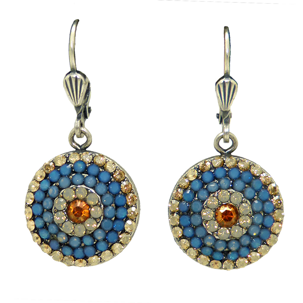 La Vie Parisienne Silver Round Pave Earrings 4148 Air Blue White Opal Citrine - ILoveThatGift