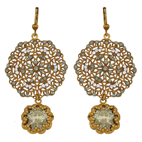 La Vie Parisienne Gold Lace Earrings Encased Black Diamond Crystals 4294G Catherine Popesco
