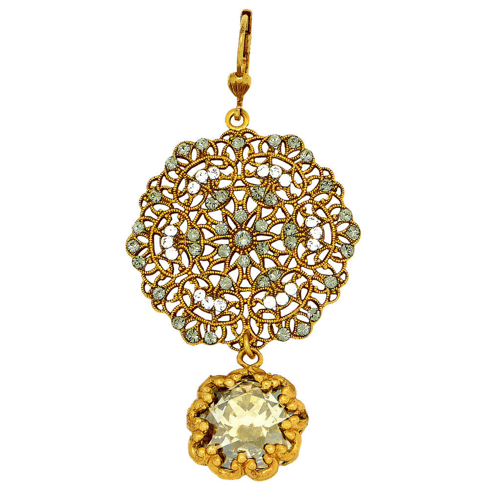 La Vie Parisienne Gold Lace Earrings Encased Black Diamond Crystals 4294G Catherine Popesco - ILoveThatGift