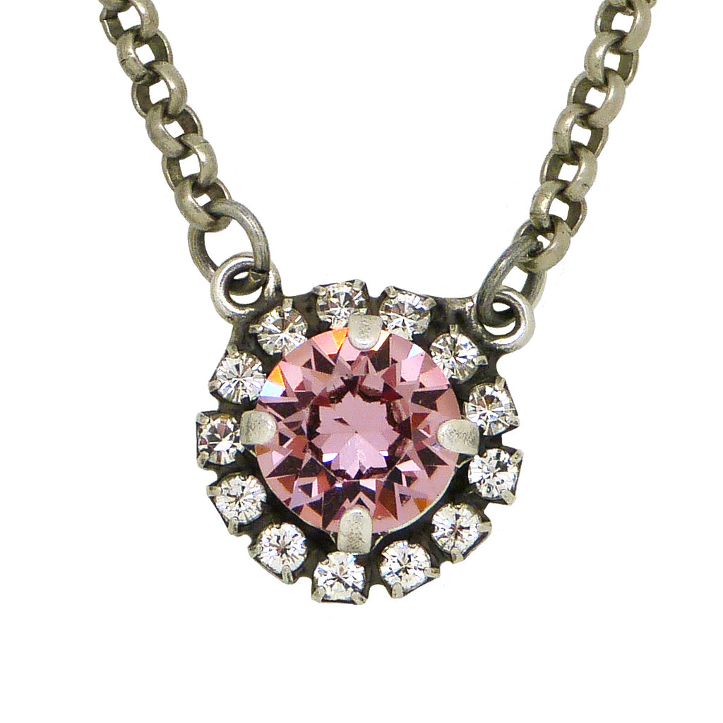 Dorata Handmade Vintage Pink Swarovski Pendant Necklace wear with Mariana - ILoveThatGift