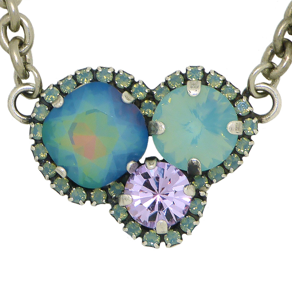 Dorata Handmade Sunset Trio Blue Pacific Opal Violet Pendant Necklace wear with Mariana - ILoveThatGift