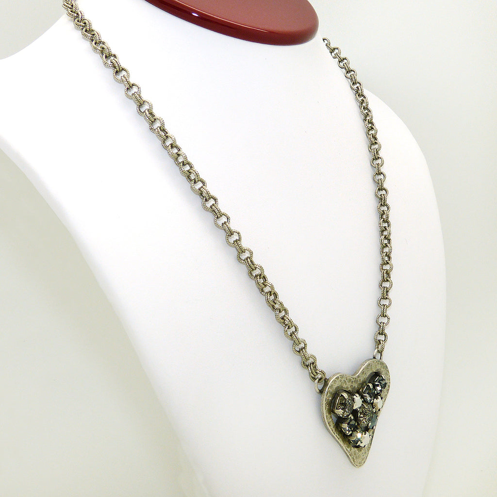 Dorata Handmade Swarovski Hammered Heart Pendant Necklace wear with Mariana - ILoveThatGift