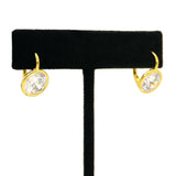 Silver or Gold Round Bezel CZ Earrings Designer Inspired - ILoveThatGift