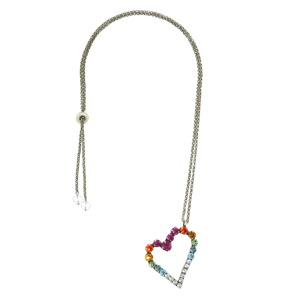 Dorata Handmade Swarovski Multicolor Heart Pendant Necklace wear with Mariana - ILoveThatGift