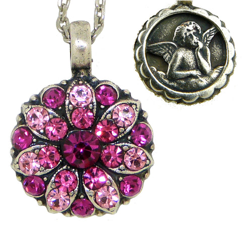 Mariana Guardian Angel Crystal Pendant Necklace 5022 Pink Fuchsia Indian Pink Rose
