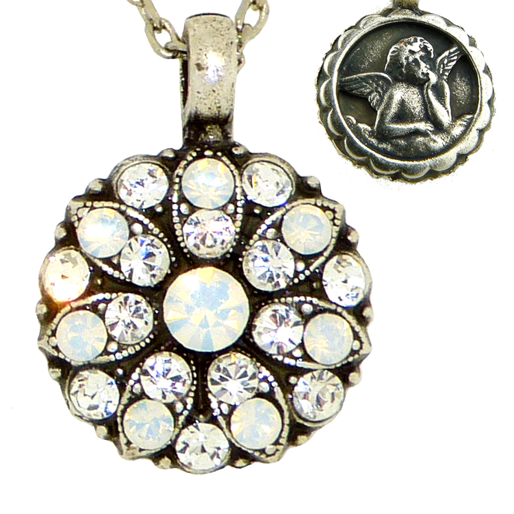 Mariana Guardian Angel Crystal Pendant Necklace 001234 White Opal Clear