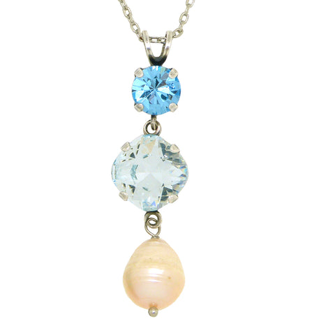 Mariana Forever Crystal Pearl Pendant Necklace 202361 Azura, Pearl, and Aquamarine