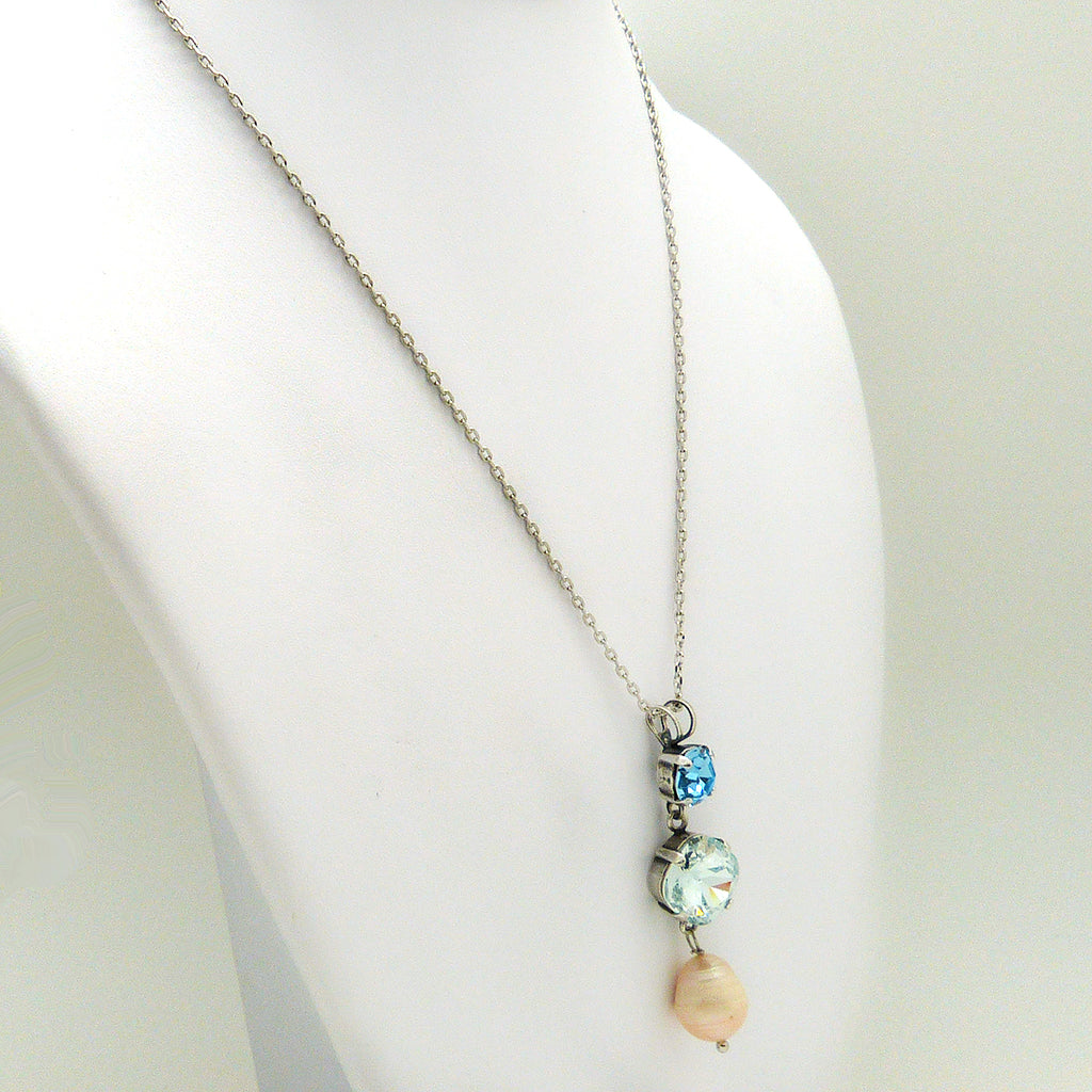 Mariana Forever Crystal Pearl Pendant Necklace 202361 Azura, Pearl, and Aquamarine - ILoveThatGift