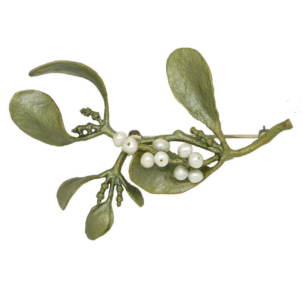 Mistletoe with Pearls Brooch Pin  by Michael Michaud Nature Silver Seasons 5609 - ILoveThatGift