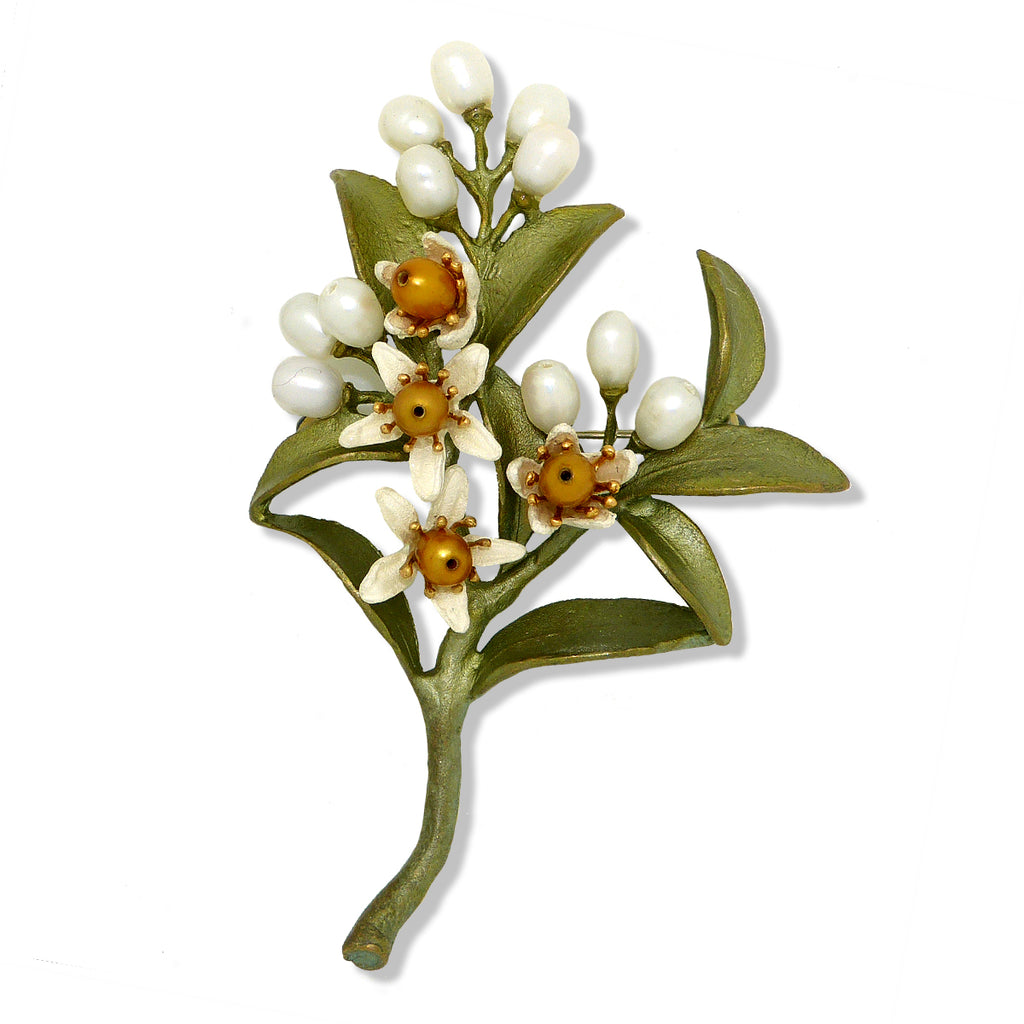 Orange Blossom Brooch Pin #2 by Michael Michaud Nature Silver Seasons 5972