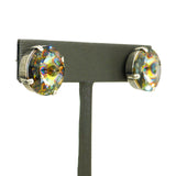 Dorata Handmade Rivoli Swarovski Crystal Peacock Eye Earrings wear with Mariana - ILoveThatGift