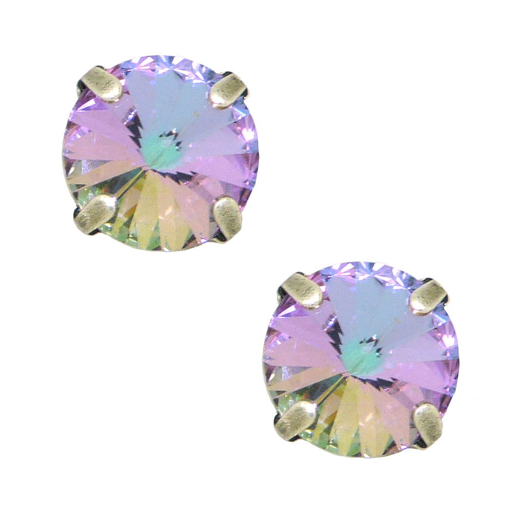 Dorata Handmade Crystal Vitrail Light Swarovski Rivili Cut Earrings wear with Mariana - ILoveThatGift