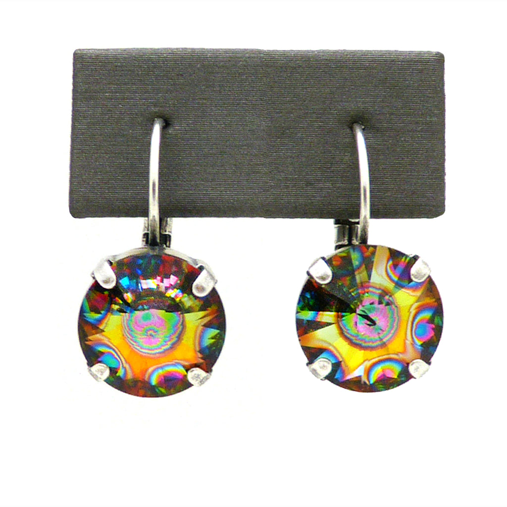 Dorata Handmade Rivoli Swarovski Crystal Peacock Eye Drop Earrings wear with Mariana - ILoveThatGift