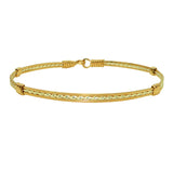 Ronaldo The Sweetheart 63 Bracelet 14K Gold Artist Wire with Silver Diamond Cut